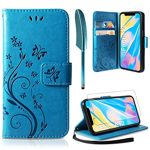 AROYI Lederhülle iPhone 12 Hülle + HD Schutzfolie, iPhone 12 Flip Wallet Handyhülle PU Leder Tasche Hülle Kartensteckplätzen Schutzhülle für iPhone 12 5.4