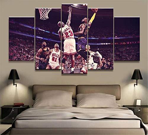 ZKPWLHS ImpresionessobreLienzo 5 Piezas De Baloncesto Estrella NBA James Vs Jordan Póster...
