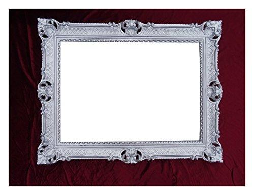 Lnxp WANDSPIEGEL BAROCKSPIEGEL Spiegel IN Silber 90x70 cm ANTIK BAROCK Rokoko Shabby CHIC Renaissance JUGENDSTIL Retro Design MIT ORNAMENTVERZIEHRUNGEN LUXURIÖS PRUNKVOLL