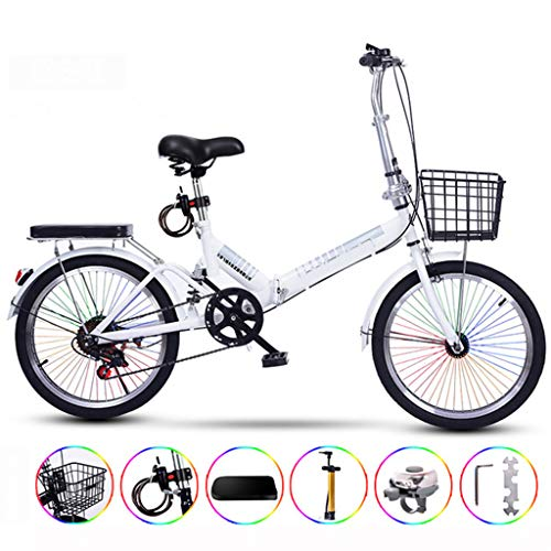 Ultralight Portable Folding Bike for Adults with Self Installatie 20 Inch Gecodeerde Color Bar Varlable Speed,White