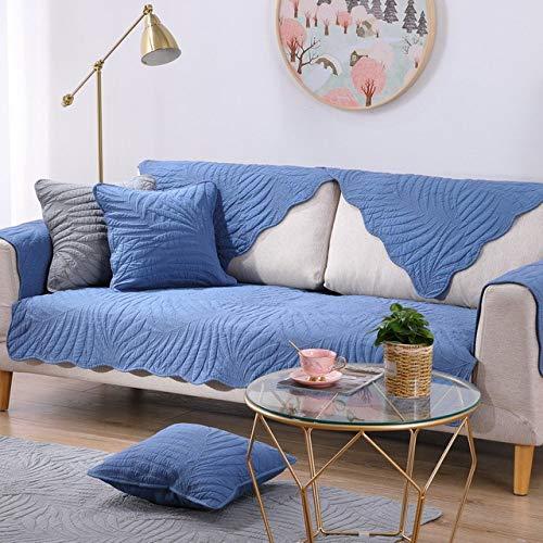WPQBS Sofa hoes,Sofa kussenhoes vier seizoenen universele katoenen stof bank hoes antislip sofa hoes voor woonkamer hoekbanken handdoek, blauw, w90xl210cm 1 stuks