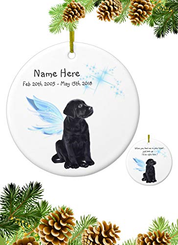 Yor242len Black Lab Angel Black Lab Ornament Labrador Angel Ornament Black Lab Memorial Black Lab Christmas Ornament Dog Angel Ornament