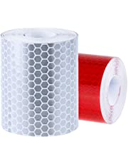 Rovtop Reflecterende tape tape tape voor veiligheid waarschuwingstape veiligheid markering tape zilverwit en rood 2 rollen 5 * 300 cm