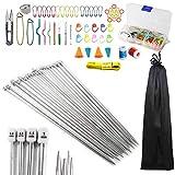 Anyasen 80 piezas Kit de tejer Kit de Ganchillos Accesorios Agujas de Tejer Kit Agujas de ...