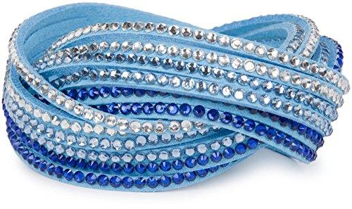 styleBREAKER weiches Strass Armband, eleganter Armschmuck mit Strassteinen, Wickelarmband, 6x1-Reihig, Damen 05040005, Farbe:Hellblau/Dunkelblau-Hellblau-Klar