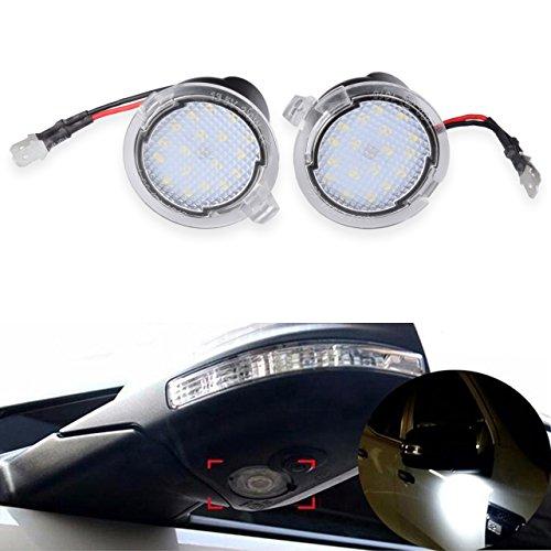 NATGIC 2pcs LED Luz Delantera Debajo del Espejo Luces del Espejo Retrovisor Luces del Charco del Espejo Retrovisor Lateral del Coche Luz de Bienvenida del Coche 12V - Blanco