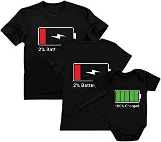 100% Charged Full and Low Battery Family Set Dad Mom & Baby T-Shirt & Bodysuit