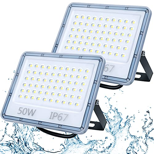 50W Focos LED Exterior 2 Paquetes, TASINUO 5000LM 6500K Blanco Frío Superbrillante Foco LED, IP67 Impermeable Luces LED Exterior, Aplique Pared Exterior para Patio Trasero, Garaje, Pasillo, Jardín