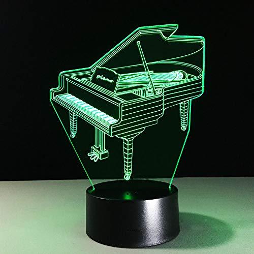 Led Nachtlicht 3D Kinder Illusion Stimmungslicht,Klavier Schreibtisch Lampen 7 Farben Ändern Touch Switch Fernbedienung Nachttischlampe ,Kinder Geburtstagsgeschenk