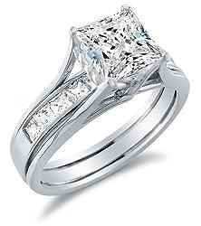 Cz Bridal Sets Sterling Silver Gold Platinum Fake