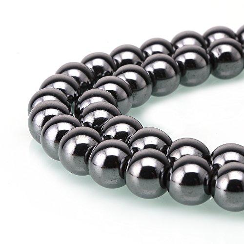 BRCbeads Hematite Gemstone Loose Beads Round 8mm Crystal Energy Stone Healing Power for Jewelry Making