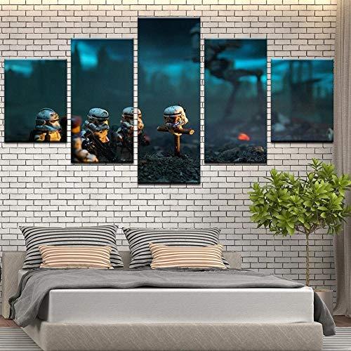 104Tdfc El Stormtrooper de Star Wars XXL Lienzo de Tejido no Tejido 5 Piezas Impresión en Lienzo Picture Artworks para Arte Pared Habitación Dormitorio Moderno Decorativo