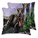 anzonto Fundas de almohada de terciopelo jurásico mundo Velociraptor Tyrannosaurus boca, dinosaurio, selva, sangre, colmillos fundas de cojín para el hogar para niños y niñas 55 x 55 cm, paquete de 2
