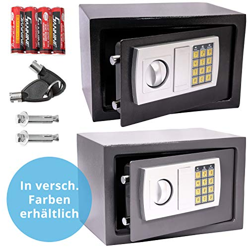 Panorama24 Tresor Safe mit Elektronik-Zahlenschloss 31x20x20cm LED-Anzeige Stahlbolzen, silbergrau, inkl. 4 Batterien, Möbeltresor Wandtresor Wandsafe Home