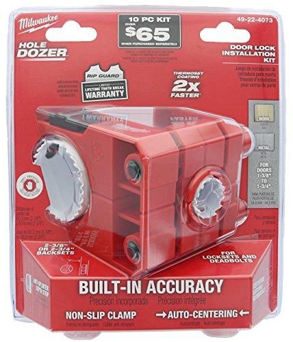 Milwaukee 49-22-4073 Polycarbonate 1-3/8' - 1-3/4' Door Lock and Deadbolt Installation Kit with Included Hole Saw, Auto-Centering Guide and Non-Slip Clamp (Drill / Driver Not Included)