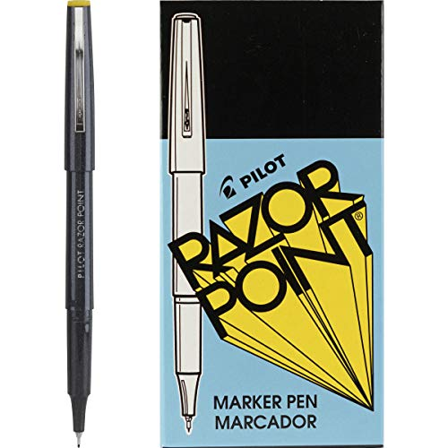 PILOT Razor Point Fine Line Marker Stick Pens, Ultra-Fine Point (0.3mm) Black Ink, 12-Pack (11001)