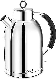 کتری برقی ، کتری چای برقی استیل ضد زنگ ASCOT ، 1.7QT ، 1500W ، بدون BPA ، بی سیم ، خاموش شدن خودکار ، آبگرمکن جوش سریع سریع - نقره جلا
