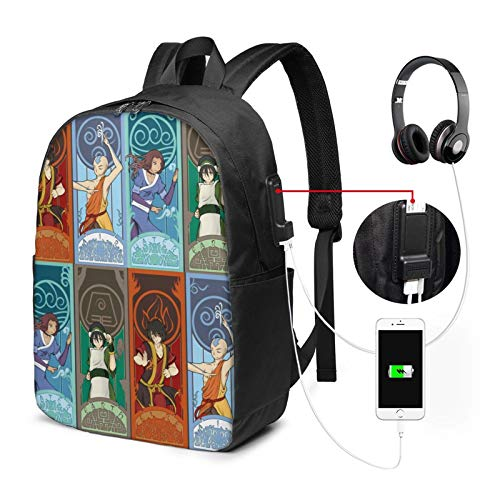 Avatar?The?Last?Airbender Backpack 17 in Large Laptop Backpack with USB Charging Port and Headphone Jack is Suitable for Travel School Office