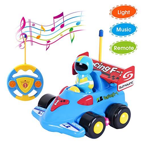 ANTAPRCIS Coches Teledirigidos con Música y Luces, Radio Control Remoto Coches RC, Tren de Teledirigido Niños, Coches de Racer Teledirigidos para Bebés Niños de 18 Meses+