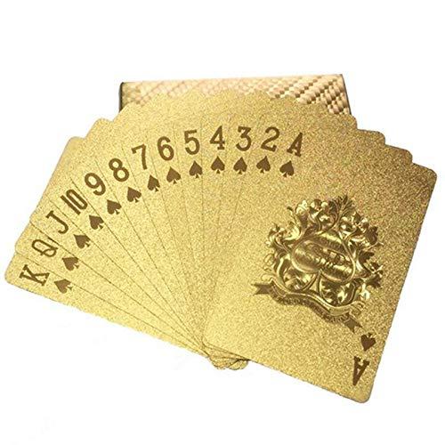 Pepional Spielkarten, Wasserfeste Pokerkarten,Familienparty Spiel Playing Cards -Gold Pokerkarten Spielkarten aus PVC Kunststoff-Karten Poker Plastik Deck wasserdicht goldene Folie
