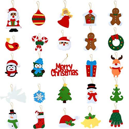 Wizdar 25 Set Christmas Ornaments Felt Material Christmas Tree Ornaments Santa Snowman Angel Reindeer Penguin Hanging Tree Ornaments for Mini Christmas Tree Decorations