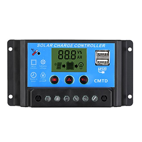 Anself 10A 12V/24V Contrôleur de Charge Solaire avec Ecran LCD Auto Régulateur Minuterie Panneau Solaire Batterie Lampe Éclairage LED Protection contre Surcharge