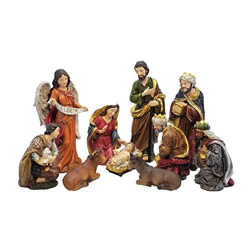 LISAQ Estatua de Zayton Conjunto de Escena de la Natividad bebé Jesús Pesebre Cuna de Navidad figuritas miniaturas Ornamento Iglesia decoración del hogar