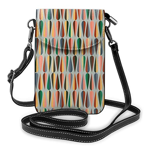 Women Small Cell Phone Purse Crossbody,Simple Two Colored Drop Shapes Grid Symmetrically Lined On Grey Background