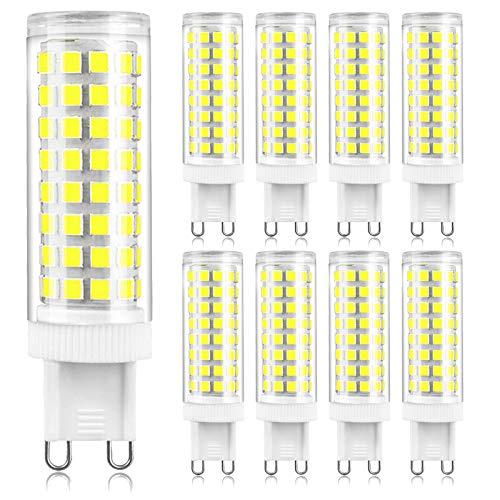 ALASON Bombillas LED G9 de 10W, 80W 100W de Repuesto halógenas, Blanco frío 6000K, AC100-240V, Base estándar de Dos Clavijas G9, no Regulable, 8pcs