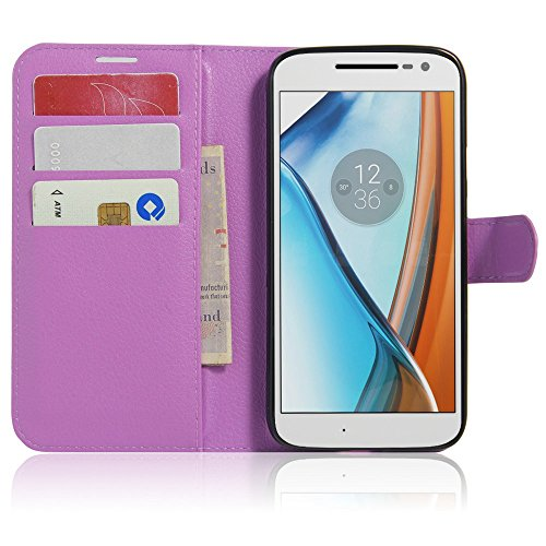 Tasche für Lenovo Moto G4 Play (5.0 zoll) Hülle, Ycloud PU Ledertasche Flip Cover Wallet Hülle Handyhülle mit Stand Function Credit Card Slots Bookstyle Purse Design lila
