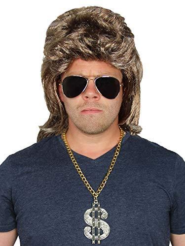 bad taste dieser Style macht geil 3 Teile Set - Blonde Vokuhila Perücke + Sonnenbrille + Dollar Goldkette - für Herren zum 80er Jahre Männer Kostüm Fasching Karneval Party Herrenperücke graublond