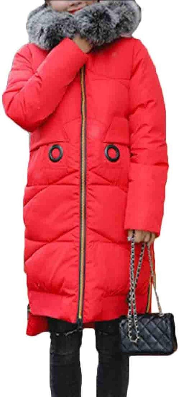 Desolateness Women's Winter Faux Fur Hood Coats Down Parkas Long Jackets Overcoat