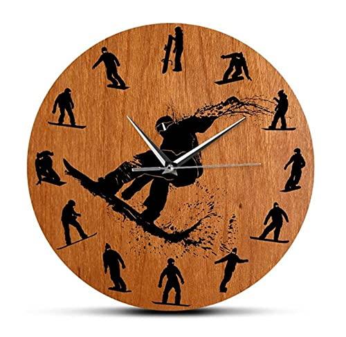 Reloj de Pared de diseño Moderno con Siluetas de Snowboarders, Accesorio de Deporte de Invierno, Reloj de Arte de esquí, Reloj de Pared, decoración, Regalo de Esquiador(30Cm)