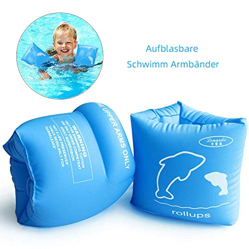 Lemandii - Muñequeras de natación para niños de 5-10 años, 20-55 kg, Azul, Large