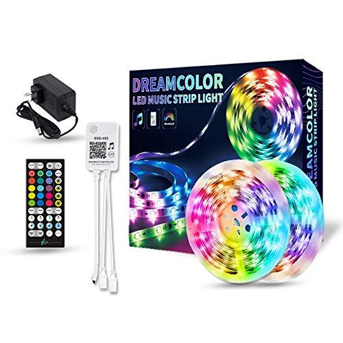 DONGYAO Cadena de luces, tiras de luces LED con control remoto de 5 m de luz de música con aplicación de operación RGB color corriendo lámpara de caballo accesorios de sala de estar TV dormitorio.