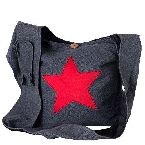 Vishes - Yogi Beuteltasche aus Baumwolle mit aufgenähtem Stern grau-rot