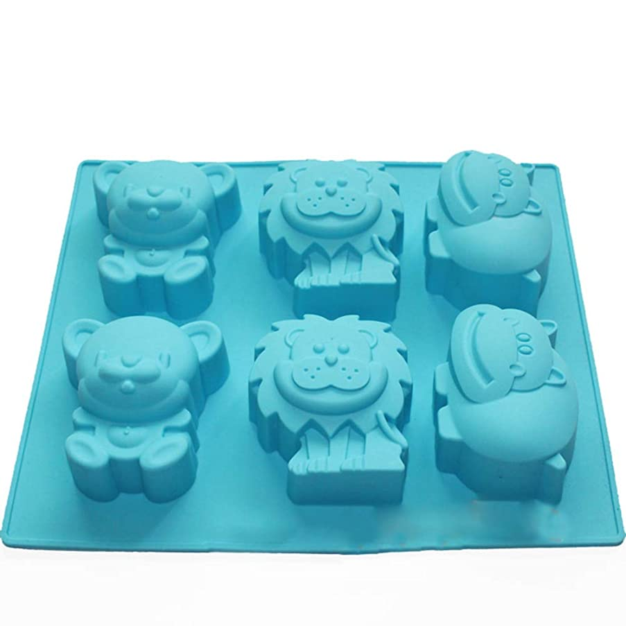 X-Haibei Jungle Zoo Animal Chocolate Cake Gelatin Soap Silicone Mold Making Kids Favor