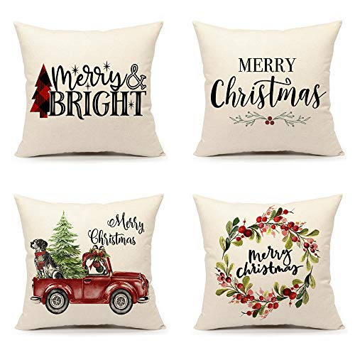 4TH Emotion Christmas Pillow Covers 18x18 Set of 4 for Farmhouse Decorations Winter Holiday Throw Cushion Case (Merry Bright, Merry Christmas, Tree Truck, Wreath)
