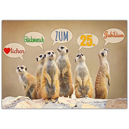 A4 XXL 25 Jubiläum Karte ERDMÄNNCHEN mit Umschlag - edle Jubiläumskarte - Glückwunschkarte zum 25. Dienstjubiläum Firmenjubiläum von BREITENWERK