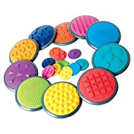 Complete Set of 10 Tactile Discs Consisting of Groups 1 and 2 of the 5 Tactile Disc Groups: Contains 10 Large Ones to Walk On and 10 Small Ones to Hold in your Hands