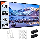 Projectior Screen 150 inch, Real-Anti-Crease 150in 16:9 HD Outdoor Movie Screen Portable P...
