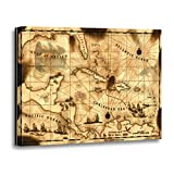 TORASS Canvas Wall Art Print Pirate Caribbean Treasure Map Florida Bahamas Islands Ships Artwork for Home Decor 12' x 16'