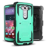 LG V10 Case, J.west Hybrid Rugged TPU Full-body Protection Case Shock Absorption Design with Rotating Belt Clip Holster Kickstand Armor Defender Case for LG V10 Case (5.7' inch)(Mint Green/Black)