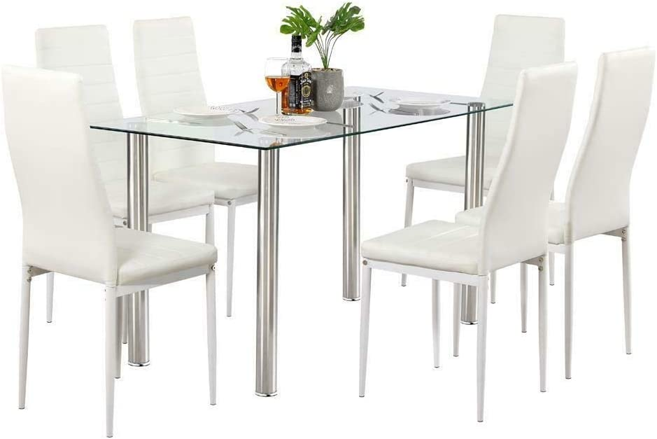 Hypeshops 7 Piece Dining Table Department store Don't miss the campaign Set Metal Glass Chairs 6 Kitchen