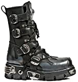 New Rock Newrock 591-S2 Silver Flame Metal Black Leather Heavy Punk Gothic Boots with Laces 11