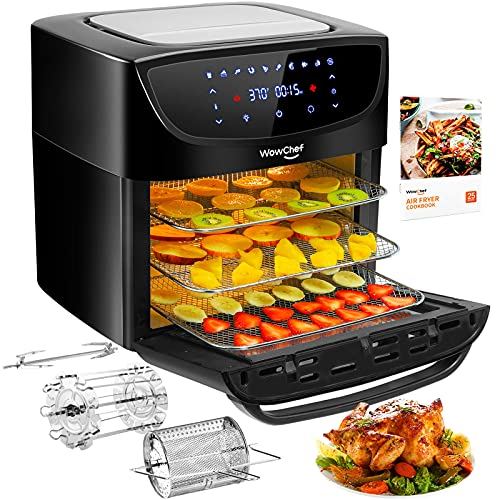 WowChef Air Fryer Oven Combo 20 Quart, Convection Toaster Oven Dehydrator, 10-in-1 Air Fryer with Rotisserie and Racks, Large Capacity Airfryer for Family, 9 Accessories with Cookbook, ETL Certified