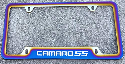 Estodian Blue Burnt Rainbow Chameleon Colorful Camaro SS RS Car License Plate Tag Holder Frame for Chevy Camaro 304 Stainless Steel (1 SS)