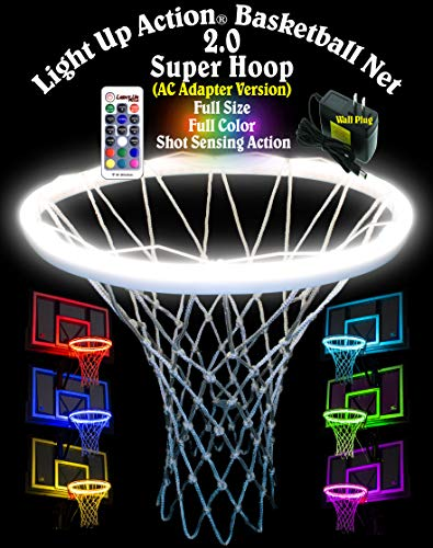 Light Up Action Super Hoop Neon LED Basketball Hoop Light Net 2.0 Illuminates Backboard, Rim and Net Any Color by Remote with Rebound Sensing and Score Sensing Reactive Lights (AC Adapter Version)