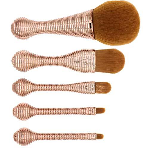 Herramientas Del Maquillaje 5pcs Sistema De Cepillo Profesional Cerda Suave Del Cepillo Del Maquillaje Fundación Blender Delineador De Ojos Blush Contorno Cepillos Para El Polvo De Crema Cosmética,
