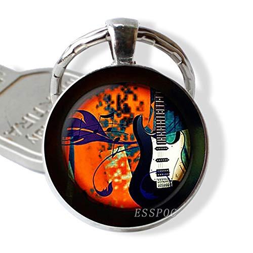 DSBN sleutelhanger gitaar muziek glas hanger gitaar keychain sleutelhanger muziekinstrument sieraden muziekliefhebbers leraar student geschenk maat 3